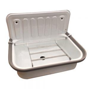 lavabo evier émaillé en blanc avec grille de support